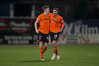 8th November 2019; Dens Park, Dundee, Scotland; Scottish Championship Football, Dundee Football Club versus Dundee United; Paul Watson and Jamie Robson of Dundee United celebrate at the end of the match  - Editorial Use