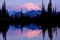 Sunrise reflection of Mt. Rainier at Upper Tipsoo Lake, Mt. Rainier National Park
