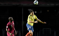 SAO PAULO – BRASIL, 19-06-2019:Stefan Medina de Colombia en acción durante partido de la Copa América Brasil 2019, grupo B, entre Colombia y Catar jugado en el Estadio Morumbí de Sao Paulo, Brasil. / Stefan Medina of Colombia in action during the Copa America Brazil 2019 group B match between Colombia and Qatar played at Morumbi stadium in Sao Paulo, Brazil. Photos: VizzorImage / Julian Medina / Contribuidor