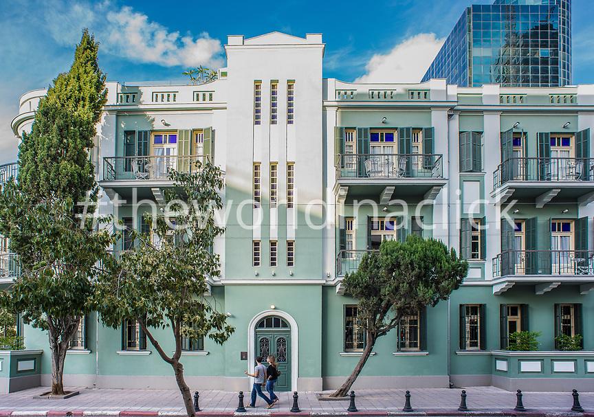 ISRAEL, Tel Aviv, the green facade of Alma Boutique Hotel, White City Area