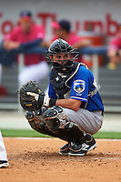 Biloxi Shuckers catcher Adam Weisenburger (8) looks to the dugout during the first game of a double header against the Pensacola Blue Wahoos on April 26, 2015 at Pensacola Bayfront Stadium in Pensacola, Florida.  Biloxi defeated Pensacola 2-1.  (Mike Janes/Four Seam Images)