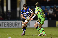 Josh Bayliss of Bath Rugby in possession. Aviva Premiership match, between Bath Rugby and Northampton Saints on February 9, 2018 at the Recreation Ground in Bath, England. Photo by: Patrick Khachfe / Onside Images