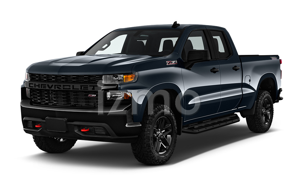 2019 Chevrolet Silverado 1500 Custom Trail Boss 4 Door Pick Up angular front stock photos of front three quarter view