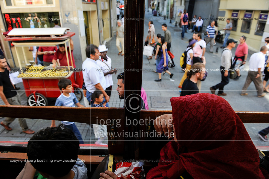 TURKEY Istanbul , tram between Taksim and Tunel at Istiklal Avenue in the Beyoğlu district/ TUERKEI Istanbul, Strassenbahn in der Istiklal Strasse in Beyoğlu