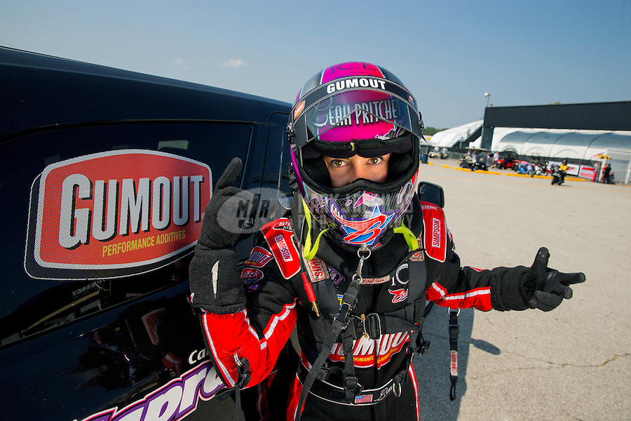 Sep 6, 2015; Clermont, IN, USA; NHRA top fuel driver Leah Pritchett reacts during qualifying for the US Nationals at Lucas Oil Raceway. Mandatory Credit: Mark J. Rebilas-USA TODAY Sports