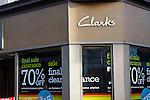 Clarks shoe shop sale. High street shops and shopping,  January 2009, Lowestoft, Suffolk, England
