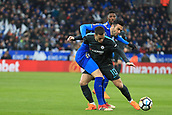 18th March 2018, King Power Stadium, Leicester, England; FA Cup football, quarter final, Leicester City versus Chelsea; Eden Hazard of Chelsea battles with Vicente Iborra of Leicester City