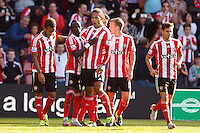 Sadio Mane celebrates scoring a goal with team mate Virgil van Dijk after making it 3-0 during the Barclays Premier League match between Southampton v Swansea City played at St Mary's Stadium, Southampton