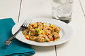 Stir fried shrimp with pineapple and peppers