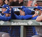 Norichika Aoki (Royals),<br /> OCTOBER 26, 2014 - MLB :<br /> Norichika Aoki of the Kansas City Royals reacts in the dugout during Game 5 of the 2014 Major League Baseball World Series against the San Francisco Giants at AT&amp;T Park in San Francisco, California, United States. (Photo by AFLO)