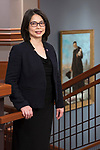Josephine Esteban, wife of DePaul President A. Gabriel Esteban, Ph.D., in a portrait in the Driehaus College of Business, Monday, Oct. 9, 2017, on the Loop campus. (DePaul University/Jeff Carrion)