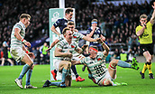 7th December 2017, Twickenham Stadium, London, England; The Varsity Match, Cambridge versus Oxford;  Teammates celebrate with Jake Hennessey after he goes over the line in the 35th minute only to be cancelled on review for an earlier forward pass