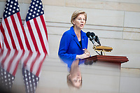 United States Senator Elizabeth Warren (Democrat of Massachusetts), speaks during a ceremony dedicating a chair in the United States Capitol Building to honor United States soldiers labeled as 'Prisoners of War' or 'Missing in Action' at the United States Capitol Building in Washington, D.C. on November 8th, 2017. <br /> Credit: Alex Edelman / CNP /MediaPunch