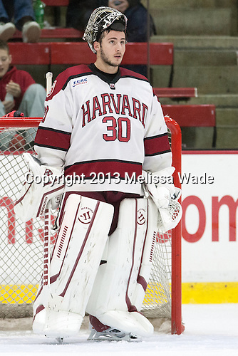 Raphael Girard (Harvard - 30) - The Harvard University Crimson defeated the visiting Bentley University Falcons 3-0 on Saturday, October 26, 2013, in Harvard's season opener at Bright-Landry Hockey Center in Cambridge, Massachusetts.