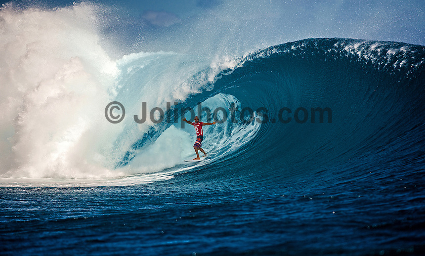 CLOUDBREAK, Namotu Island/Fiji (Wednesday, June 12, 2013) - Kelly Slater (USA), 41, has won the Volcom Fiji Pro for the second consecutive year, defeating Mick Fanning (AUS), 31, in solid six-to-eight foot (2 metre) waves at Cloudbreak.<br /> <br /> Stop No. 4 of 10 on the ASP World Championship Tour (WCT), the Volcom Fiji Pro saw several days of world-class surf at both Restaurants and Cloudbreak and saw a series of mixed results from the ASP Top 34 that shook up the current rankings in the race for the ASP World Title.<br /> <br /> Slater built momentum throughout the Volcom Fiji Pro, peaking on the final day of competition. Slater&rsquo;s road to victory included a perfect 20-point heat against Sebastian Zeitz (HAW), 25, in the Quarterfinals, a victory over John John Florence (HAW), 20, in the Semifinals, culminating with a win over Fanning in the Volcom Fiji Pro title.<br /> <br /> Slater&rsquo;s win vaults him to No. 1 on the rankings, putting him in contention for a historic 12th ASP World Title. Mick Fanning moves to second on the ratings and in the running for a third World Title.<br /> Photo: joliphotos.com