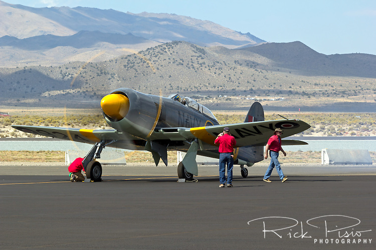 The Bristol Centaurus powered Hawker Sea Fury 924 is recovered after a race at Stead Field during the 2013 National Championship Air Races.