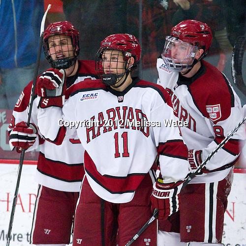 Danny Biega (Harvard - 9), Kyle Criscuolo (Harvard - 11), Jimmy Vesey (Harvard - 19) - The Harvard University Crimson defeated the visiting Rensselaer Polytechnic Institute Engineers 4-0 (EN) on Saturday, November 10, 2012, at Bright Hockey Center in Boston, Massachusetts.