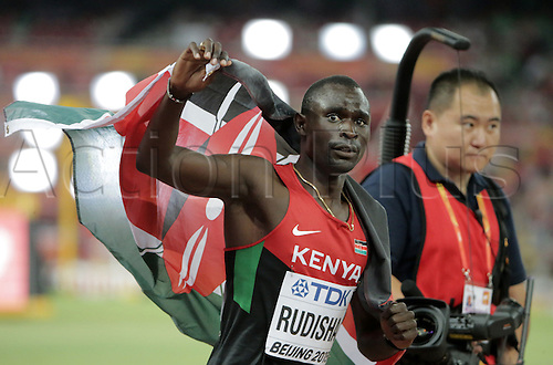 25.08.2015. Beijing, China.  David Rudisha of Kenya celebrates after winning the gold medal in the men's 800 final during the Beijing 2015 IAAF World Championships at the National Stadium, also known as Bird's Nest, in Beijing, China, 25 August 2015.