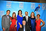 "author Christopher Durang (front) with ATWT Billy Magnussen, Sigourney Weaver, David Hyde Pierce,Kristen Nielsen, Shalita Grant, Genevieve Angelson star iin Broadway's ""Vanya and Sonia and Masha and Spike"" which had its opening night on March 14, 2013 at the Golden Theatre, New York City, New York.  (Photo by Sue Coflin/Max Photos)"