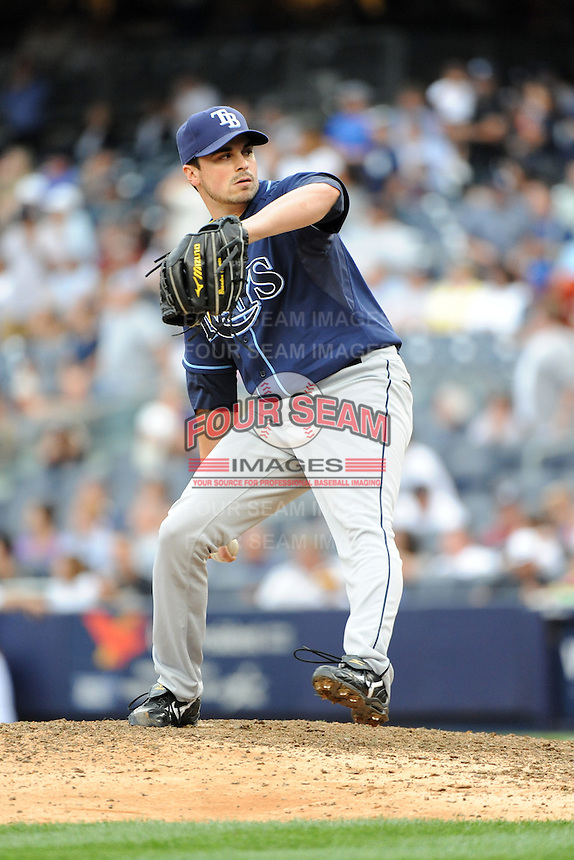 Tampa Bay Rays pitcher Brandon Gomes #47 during a game against the New York Yankees at Yankee Stadium on September 21, 2011 in Bronx, NY.  Yankees defeated Rays 4-2.  Tomasso DeRosa/Four Seam Images