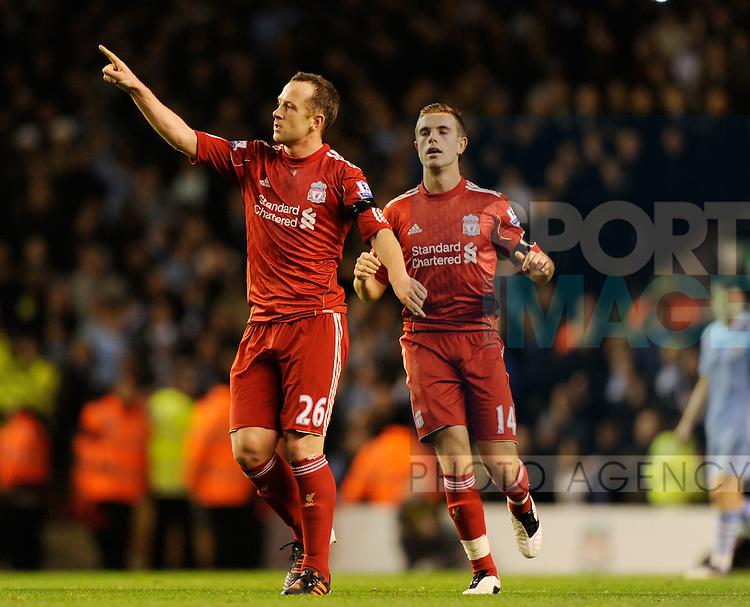 Charlie Adam of Liverpool celebrates his goal