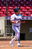 Cedar Rapids Kernels outfielder Alex Kirilloff (19) launches a home run during a Midwest League game against the Clinton LumberKings on May 28, 2018 at Perfect Game Field at Veterans Memorial Stadium in Cedar Rapids, Iowa. Clinton defeated Cedar Rapids 4-3. (Brad Krause/Four Seam Images)