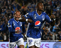 BOGOTÁ-COLOMBIA, 15–05-2019: Fabián González de Millonarios, celebra el gol anotado a Unión Magdalena, durante partido entre Millonarios y Unión Magdalena de la fecha 2 de los cuadrangulares semifinales por la Liga Águila I 2019 jugado en el estadio Nemesio Camacho El Campín de la ciudad de Bogotá. / Fabian Gonzalez of Millonarios celebrates the scored goal to Union Magdalena, during a match between Millonarios and Union Magdalena of the 2nd date of the semifinals quarters for the Aguila Leguaje I 2019 played at the Nemesio Camacho El Campin Stadium in Bogota city, Photo: VizzorImage / Luis Ramírez / Staff.