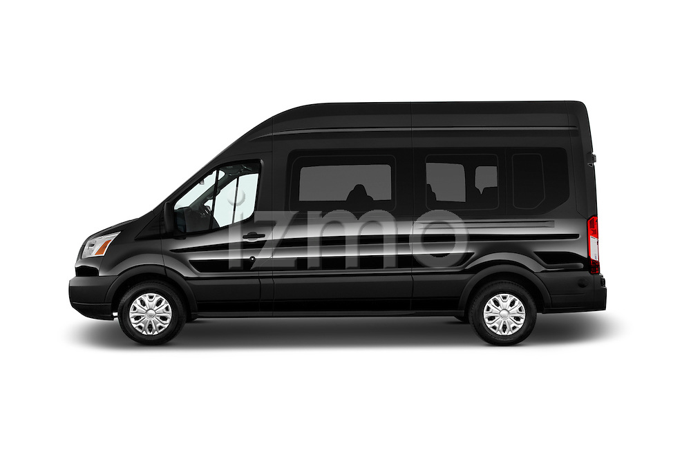 Car Driver side profile view of a 2016 Ford Transit 350-XLT-Wagon-High-Roof-Pass-Slide-148WB 4 Door Passenger Van Side View