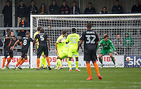 GOAL!!! Curtis Weston of Barnet scores to equalise during the EFL Sky Bet League 2 match between Barnet and Colchester United at The Hive, London, England on the 17th September 2016. Photo by Liam McAvoy.