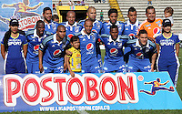 NEIVA -COLOMBIA- 6-SEPTIEMBRE-2014.Formacion de Millonarios   contra Atletico Huila<br />  partido por la fecha 8 de la Liga Postobón II 2014 jugado en el estadio Guillermo Plazas Alcid de la ciudad de Neiva ./ Team  of Millonarios  during the match against Atletico Huila  for the 8th date of the Postobon League II 2014 played at Guillermo Plazas Alcid  stadium in Neiva city.Photo / VizzorImage / Andrew Indell / Stringer