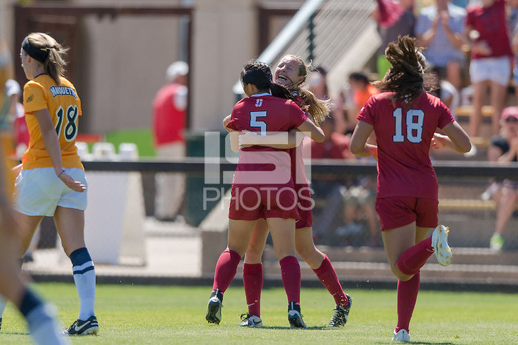 Stanford, CA - September 4, 2016:  Michelle Xiao Kyra Carusa during the Stanford vs Marquette Women's soccer match in Stanford, California.  The Cardinal defeated the Golden Eagles 3-0.