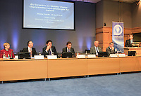 "**** NO FEE PIC***.12/04/2012 .(L to r).Gillian Hussey Chair of Crime Victims Helpline,.David McKenna President of Victim Support Europe,.Prof Anthony Pemberton International Victimology Institute Tilburg.Minister for Justice, Equality & Defence Alan Shatter TD.Ray McAndrew Chair of the Commission for the Support of Victims of Crime.Dr. Shane Kilcommins UCC.Mark Kelly ICCL Director.during a conference on the ""The EU Directive on Victims Rights: Opportunities and Challenges for Ireland"" hosted by the the Irish Council for Civil Liberties (ICCL) in Dublin Castle..Photo: Gareth Chaney Collins"