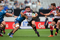 March 14th 2020, Eden Park, Auckland, New Zealand;  Lions prop Dylan Smith is tackled against the Blues, during the Super Rugby match between the Blues and the Lions, held at Eden Park, Auckland, New Zealand.