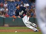 Reno Aces&rsquo; Ildemaro Vargas fields a bunt at Greater Nevada Field in Reno, Nev., on Tuesday, July 26, 2016.  <br />Photo by Cathleen Allison