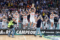 Real Madrid's players celebrating the championship during Quarter Finals match of 2017 King's Cup at Fernando Buesa Arena in Vitoria, Spain. February 19, 2017. (ALTERPHOTOS/BorjaB.Hojas)