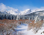 Glacier Creek, Hallett Peak, mountains, Rocky Mountain National Park, Colorado, snow, willows, winter