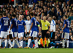 Red card for Valentin Robeege of Apollon Limassol during the Europa League Group E match at Goodison Park Stadium, Liverpool. Picture date: September 28th 2017. Picture credit should read: Simon Bellis/Sportimage