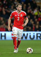 Chris Gunter of Wales in action during the 2018 FIFA World Cup Qualifier between Wales and Serbia at the Cardiff City Stadium, Wales, UK. Saturday 12 November 2016