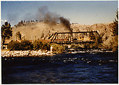 D&amp;RGW #268 with freight train crossing Taylor River at Almont.<br /> D&amp;RGW  Almont, CO