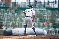 Kane County Cougars relief pitcher Erin Baldwin (19) during a Midwest League game against the Fort Wayne TinCaps at Parkview Field on May 1, 2019 in Fort Wayne, Indiana. Fort Wayne defeated Kane County 10-4. (Zachary Lucy/Four Seam Images)