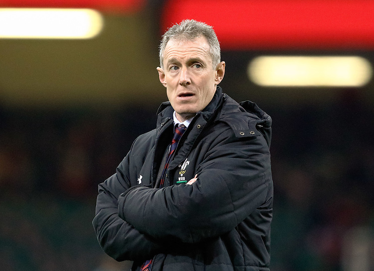 Wales' Head Coach Rob Howley during the pre match warm up<br /> <br /> Photographer Simon King/CameraSport<br /> <br /> International Rugby Union Friendly - Wales v South Africa - Saturday 26th November 2016 - Principality Stadium - Cardiff<br /> <br /> World Copyright &copy; 2016 CameraSport. All rights reserved. 43 Linden Ave. Countesthorpe. Leicester. England. LE8 5PG - Tel: +44 (0) 116 277 4147 - admin@camerasport.com - www.camerasport.com