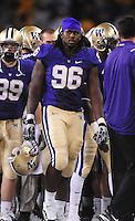Sept. 5, 2009; Seattle, WA, USA; Washington Huskies defensive tackle (96) De'Shon Matthews against the LSU Tigers at Husky Stadium. Mandatory Credit: Mark J. Rebilas-