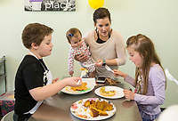 NWA Democrat-Gazette/BEN GOFF @NWABENGOFF<br /> Caiden Hopper (from left), 10, lets his sister Adaline Dunbar, 1, mom Melanie Dunbar, and sister Bristol Dunbar, 6, of Bella Vista sample the dishes he made Friday, March 22, 2019, during a spring break cooking day camp at Young Chefs Academy in Rogers. Children learned how to cook and bake a variety of recipes during the four-day camp. Recipes took inspiration from spring colors and holidays including Easter, Earth Day, and Mothers Day. Campers even created a recipe of mashed potatoes disguised as a cupcake to prank their families for April fools day.