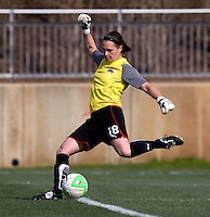 Erin McLeod of the Washington Freedom punts the ball upfield during their preseason game at the Maryland SoccerPlex in Germantown, Maryland.