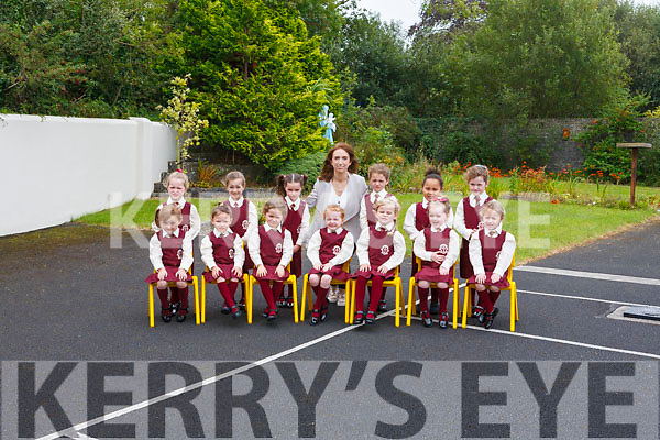 Children attending their first day at school at Scoil Mháthair Dé Abbeyfeale pictured with their teacher Ms. Cliona Ryan <br /> Seated: Ellie Murphy, Aoife Wright, Orlagh McCann, Aoife O' Mahony, Lexi D'Arcy, Jayda Walsh, Emily Quigley. <br /> <br /> Back: Caragh O' Neill, Jasmin O' Neill, Amelia McEnery, Amber Healy, Olivia Kelliher Akute, Kaylee Lynch.