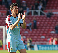 Burnley's Joey Barton applauds the travelling support at the final whistle<br /> <br /> Photographer David Shipman/CameraSport<br /> <br /> The Premier League - Middlesbrough v Burnley - Saturday 8th April 2017 - Riverside Stadium - Middlesbrough<br /> <br /> World Copyright &copy; 2017 CameraSport. All rights reserved. 43 Linden Ave. Countesthorpe. Leicester. England. LE8 5PG - Tel: +44 (0) 116 277 4147 - admin@camerasport.com - www.camerasport.com