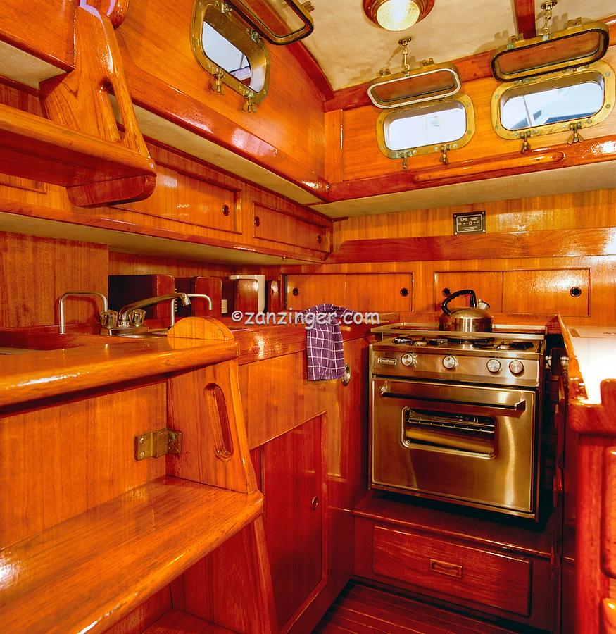 Peterson 44' Sailboat, Teak Interior, Kitchen area, Marina Del Rey, CA, Sailing, Southern California, Santa Monica Bay, South Bay, SoCal, Motor Boating, Power Yachts, Transportation