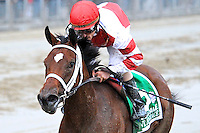 Havre de Grace (no. 5), ridden by Ramon Dominguez and trained by Larry Jones, wins the  73rd running of the grade 1 Beldame Invitational Stakes for fillies and mares three years old and upward on October 01, 2011 at Belmont Park in Elmont, New York.  (Bob Mayberger/Eclipse Sportswire)