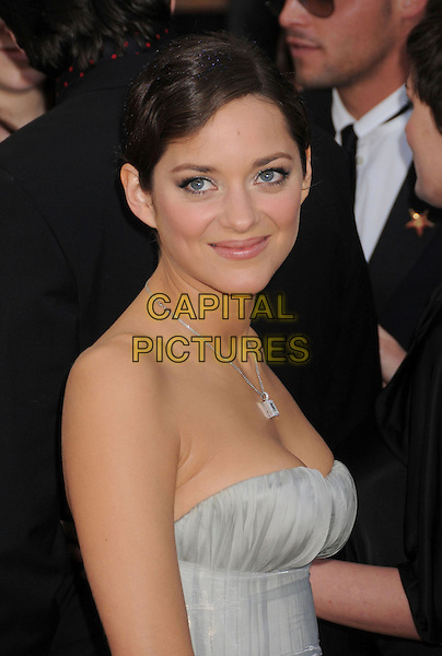 MARION COTILLARD.14th Annual Screen Actors Guild Awards held at the Shrine Auditorium, Los Angeles, California, USA..January 27th, 2008.SAG red carpet arrivals half length strapless grey gray dress .CAP/ADM/BP.©Byron Purvis/AdMedia/Capital Pictures. *** Local Caption *** .