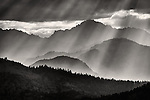 Crepuscular rays puncture the clouds and mountains in the mist on the east side of the Sierra Nevada Range, Calif.